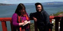Artist Kate Pocrass interviewing a Golden Gate Bridge visitor